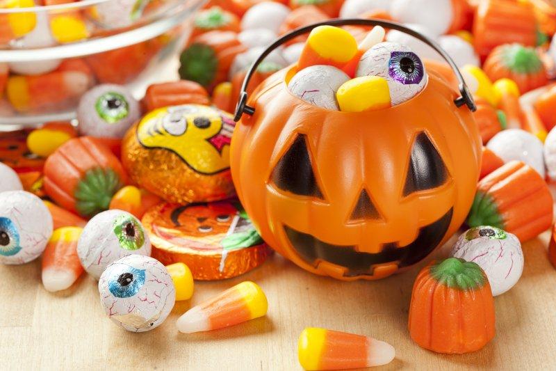 Halloween candy and pumpkin